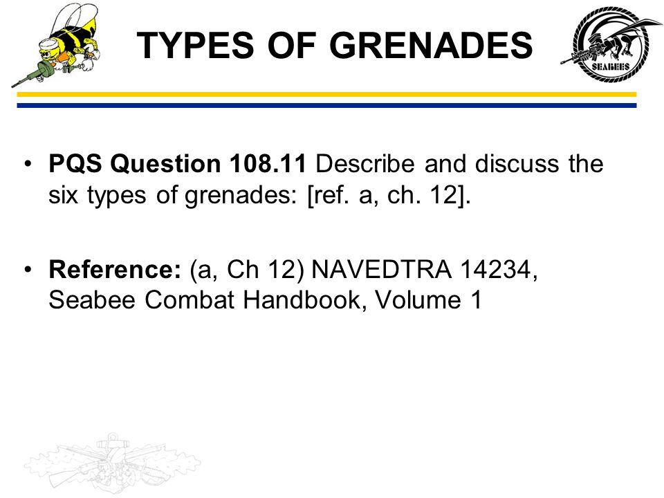 TYPES OF GRENADES PQS Question 108.11 Describe and discuss the six types of grenades: [ref. a, ch. 12].